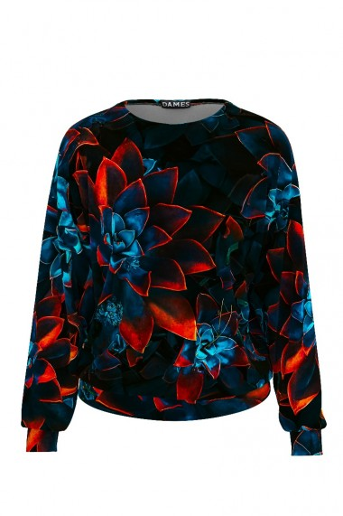 Bluza bleumarin tip hanorac din catifea cu print floral CMD462