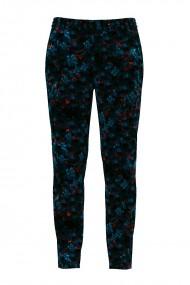 Pantaloni bleumarin cu print floral din catifea cu buzunare CMD464