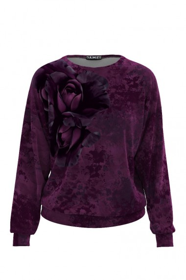 Bluza mov tip hanorac din catifea cu print floral CMD465
