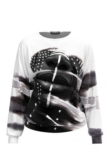 Bluza alb negru tip hanorac din catifea cu imprimeu Face CMD481
