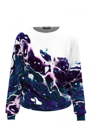 Bluza tip hanorac din catifea cu imprimeu multicolor CMD482