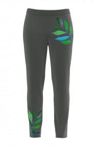 Pantaloni gri din catifea cu buzunare si imprimeu frunze CMD485