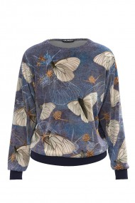 Bluza tip hanorac din catifea cu fluturi imprimati CMD486