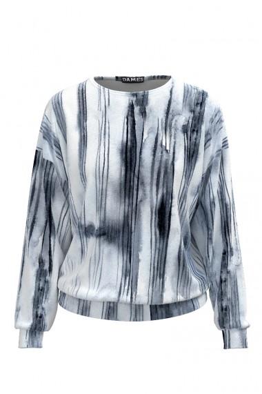 Bluza tip hanorac din catifea cu imprimeu alb- gri CMD489