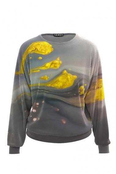 Bluza gri tip hanorac din catifea cu imprimeu abstract CMD491