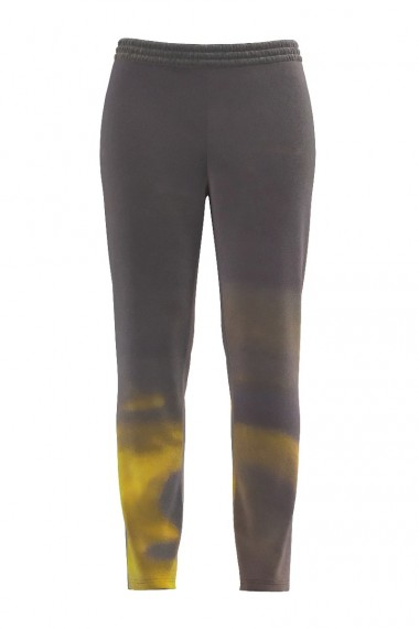 Pantaloni din catifea cu buzunare gri cu imprimeu abstract CMD492