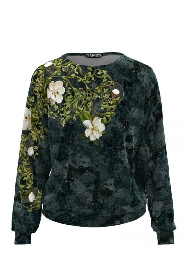 Bluza cu print floral tip hanorac din catifea CMD500