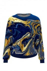 Bluza albastra tip hanorac din catifea CMD506