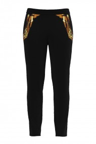 Pantaloni negri din catifea cu buzunare CMD509