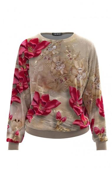 Bluza bej cu imprimeu floral tip hanorac din catifea CMD512
