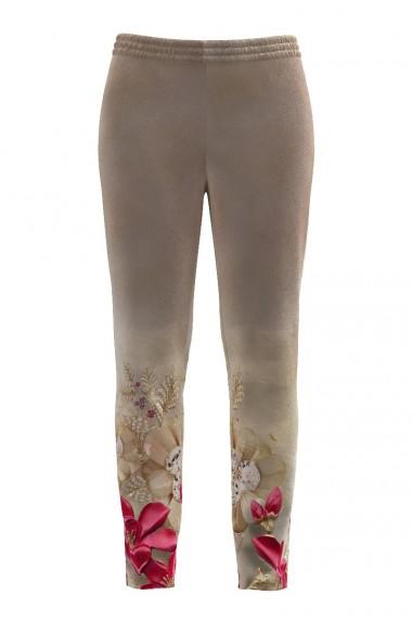 Pantaloni bej cu print floral din catifea cu buzunare CMD513