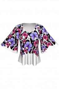 Bluză cu mâneci tip fluture imprimată digital Butterflies A845I24