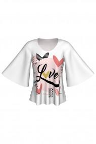 Bluză cu mâneci tip fluture imprimată digital Love A845I25