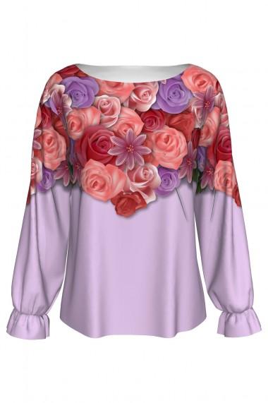 Bluză imprimată digital cu elastic la mâneci Flowers A842I35