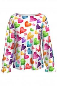 Bluză imprimată digital cu elastic la mâneci Colorful Love A842I36