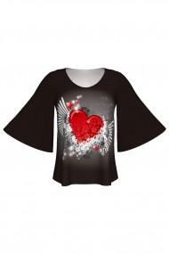 Bluză imprimată digital The Power of Love Black A845I11
