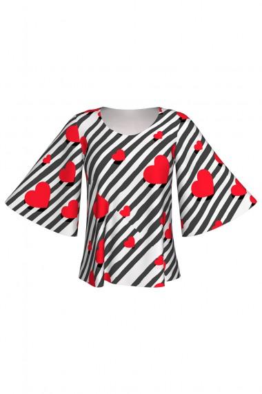 Bluză cu mâneci tip fluture imprimată digital Dancing Hearts A845I15