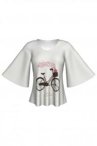Bluză cu mâneci tip fluture imprimată digital Bike Love A845I19