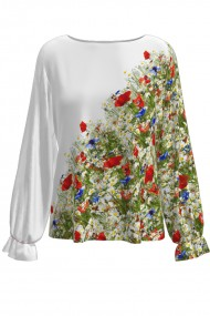Bluza alba imprimata digital Flori de camp CMD529