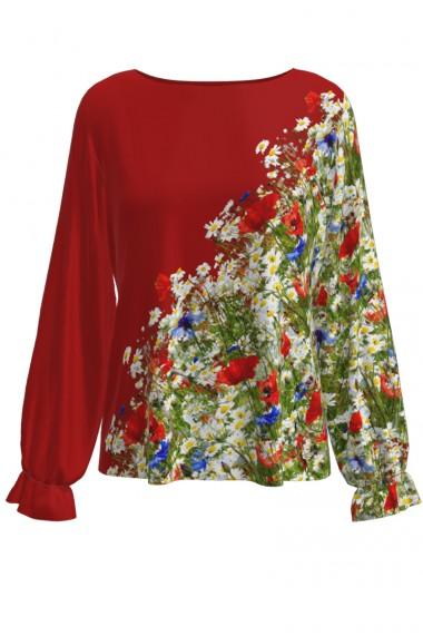Bluza rosie imprimata Flori de camp CMD531