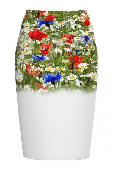Fusta alba conica imprimata Flori de camp CMD542