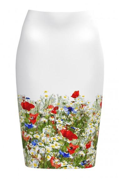 Fusta alba conica imprimata Flori de camp CMD543