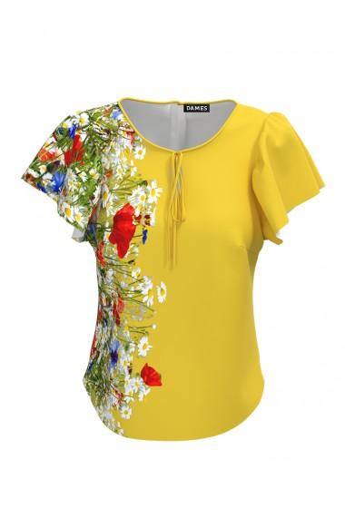 Bluza galbena cu imprimeu Flori de camp CMD576
