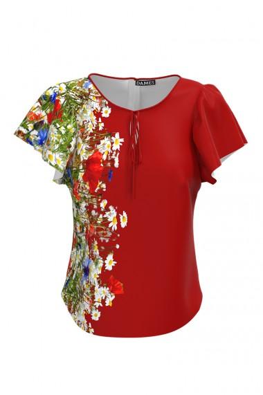 Bluza rosie imprimata Flori de camp CMD579