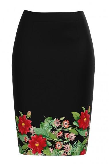 Fusta conica neagra imprimata cu model floral CMD582