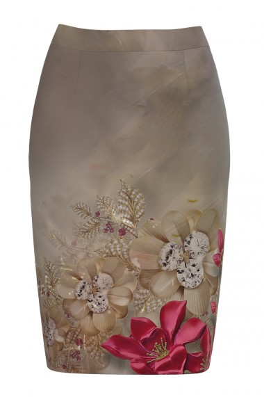Fusta conica imprimata cu model floral CMD587