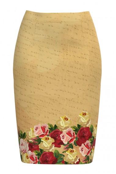 Fusta conica imprimata cu model floral CMD590
