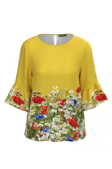 Bluza galbena imprimata Flori de camp CMD597
