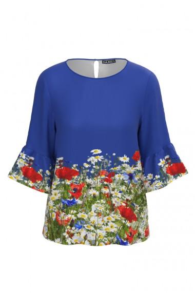 Bluza albastra imprimata digital Flori de camp CMD598