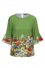 Bluza verde cu imprimeu Flori de camp CMD599