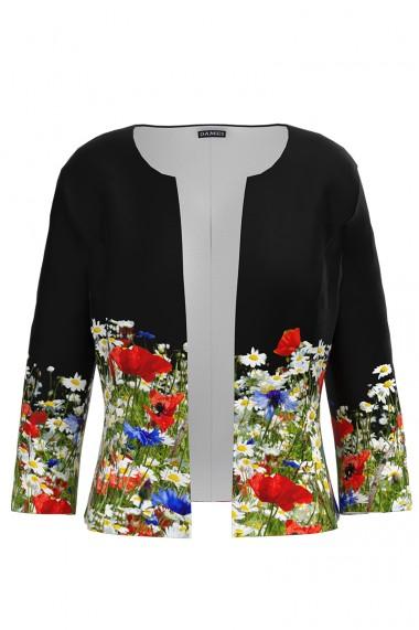 Sacou negru cambrat imprimat Floral CMD641