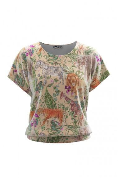 Bluza bej din catifea cu maneca scurta CMD645