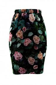 Fusta cu imprimeu floral din catifea cu buzunare CMD654