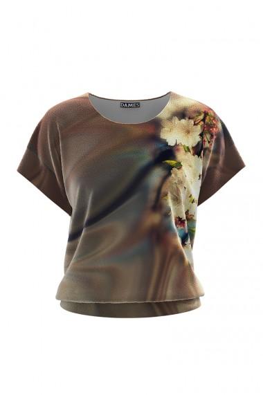 Bluza din catifea cu imprimeu digital si maneca scurta CMD655