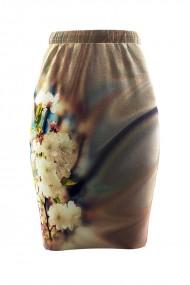 Fusta cu imprimeu floral din catifea cu buzunare CMD656