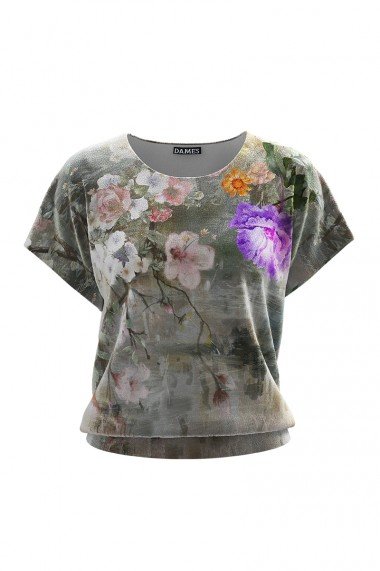 Bluza din gri din catifea cu imprimeu floral si maneca scurta CMD666