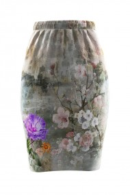 Fusta gri cu imprimeu floral din catifea cu buzunare CMD667