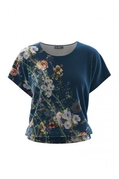 Bluza din catifea cu imprimeu floral si maneca scurta CMD668