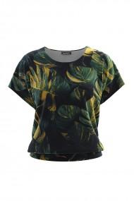 Bluza din catifea cu imprimeu digital si maneca scurta CMD672