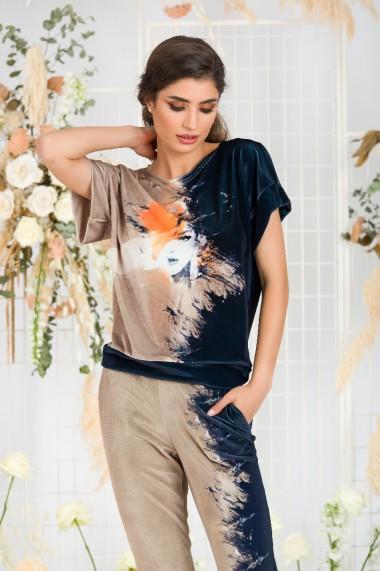Bluza din catifea cu imprimeu digital si maneca scurta CMD674