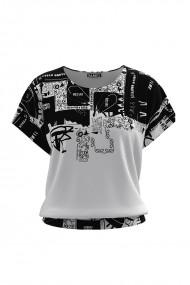 Bluza din catifea cu imprimeu alb negru si maneca scurta CMD676