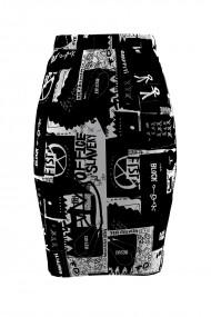 Fusta imprimata alb negru din catifea cu buzunare CMD677