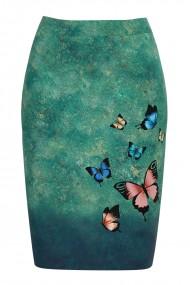 Fusta conica imprimata cu fluturi multicolori CMD683