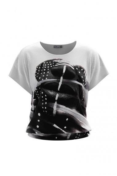 Bluza cu imprimeu Face alb negru din catifea cu maneca scurta CMD687