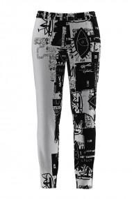 Pantaloni alb negru din catifea cu buzunare CMD689