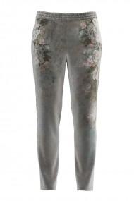 Pantaloni din catifea cu buzunare si imprimeu floral CMD693